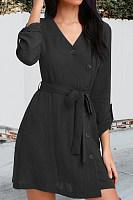 V Neck  Single Breasted  Belt Belt Loops  Plain  Long Sleeve Casual Dresses