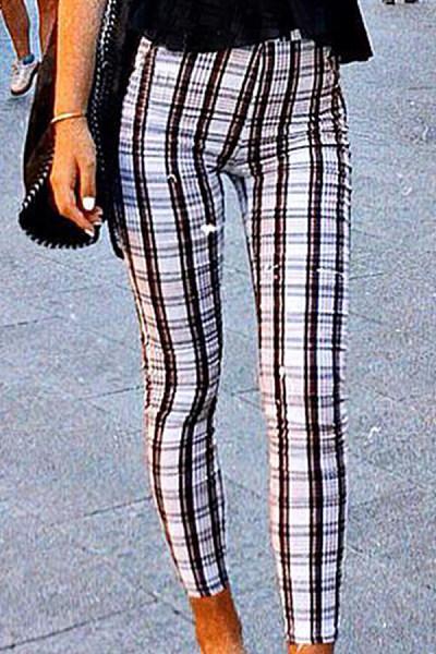 Long  Casual  Checkered   Pants