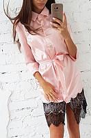 Button Down Collar  Decorative Lace  Plain  Long Sleeve Bodycon Dresses