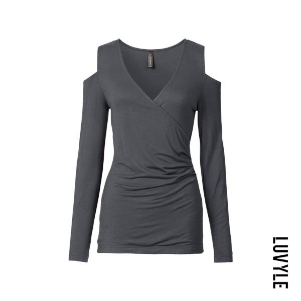 Gray Open Shoulder Surplice Plain T-Shirts Gray Open Shoulder Surplice Plain T-Shirts