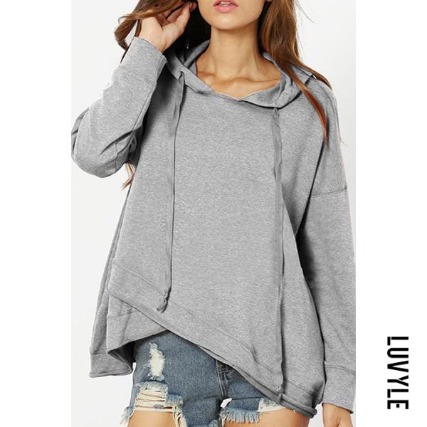 Gray Hooded Asymmetric Hem Plain Hoodies Gray Hooded Asymmetric Hem Plain Hoodies