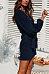 Round Neck  Belt  Plain  Long Sleeve Casual Dresses
