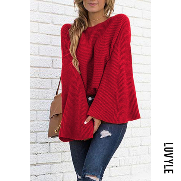 Round Neck Batwing Sleeve Plain Sweater - from $25.00