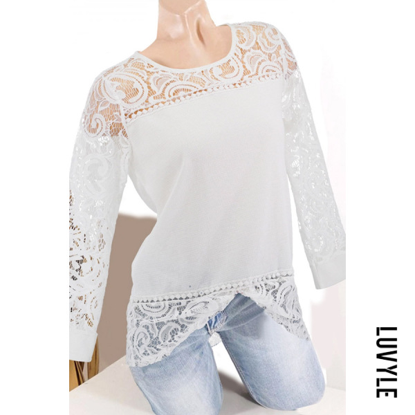 White Round Neck Patchwork Elegant Lace Plain Long Sleeve T-Shirts White Round Neck Patchwork Elegant Lace Plain Long Sleeve T-Shirts