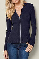 V Neck  Zipper  Plain Cardigans