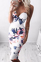 Spaghetti Strap Printed Sheath Sleeveless Bodycon Dress