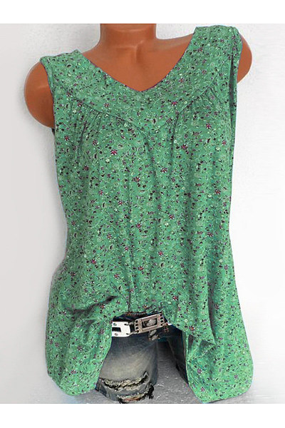 a1acd292 V Neck Loose Fitting Printed Sleeveless T-Shirts - Luvyle.com
