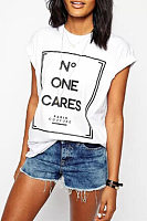 Round Neck Letters Casual T-Shirts