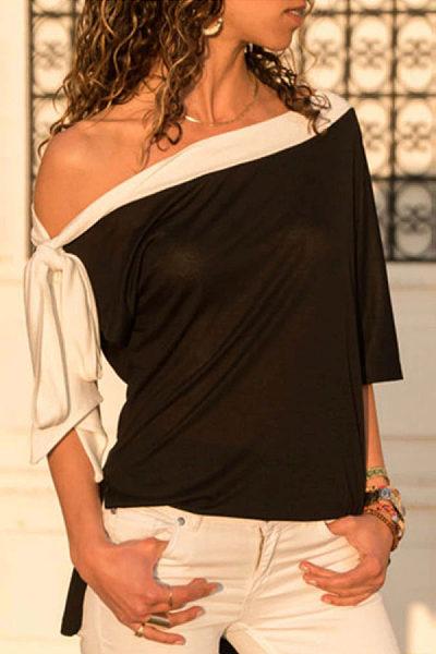 One Shoulder  Patchwork T-Shirts