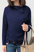 High Neck Long Sleeve Plain Outerwear