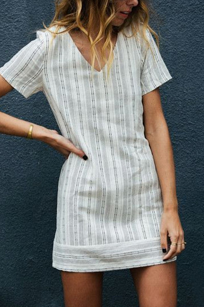 V-Neck  Striped Casual Dresses