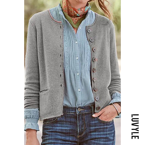 Single Breasted Pockets Plain Cardigan - from $28.00