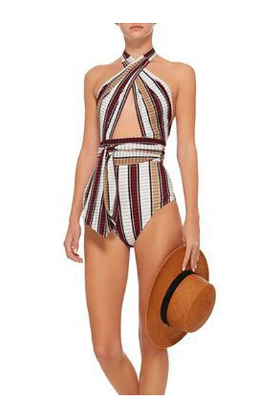 Halter  Striped One Piece