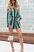 Off Shoulder  Stripes  Long Sleeve  Playsuits