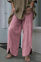 Casual loose solid color button wide-leg pants