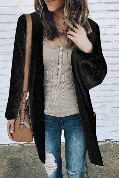 Casual Pockets Plain Cardigan