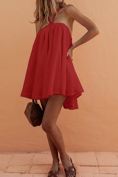 Tie Collar  Asymmetric Hem  Plain  Short Sleeve Casual Dresses