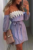 Off Shoulder  Bowknot  Belt  Patchwork Striped  Lantern Sleeve  Long Sleeve Casual Dresses