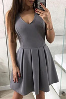 V Neck  Zipper  Plain  Sleeveless Skater Dresses