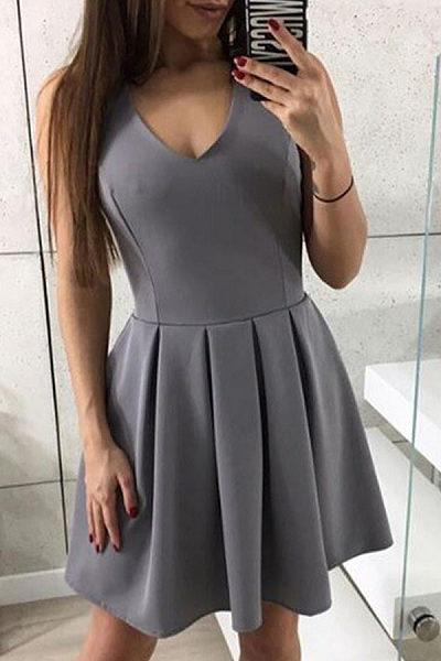 V Neck  Zipper  Plain  Sleeveless Skater Dresses