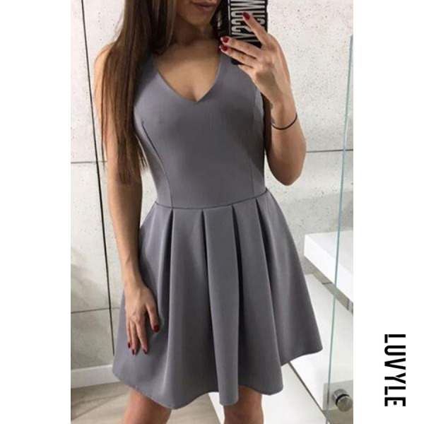 Gray V Neck Zipper Plain Sleeveless Skater Dresses Gray V Neck Zipper Plain Sleeveless Skater Dresses