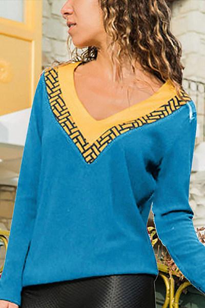 V-neck Long Sleeve T-shirt