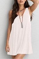 Sweet Heart  Cutout  Plain  Sleeveless Casual Dresses