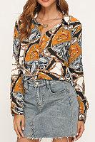 Autumn Vintage Printed Chiffon Blouse