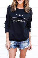 Round Neck  Color Block Letters Sweatshirts