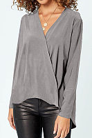 V Neck Cross-Style Long Sleeve Plain Casual T-Shirts