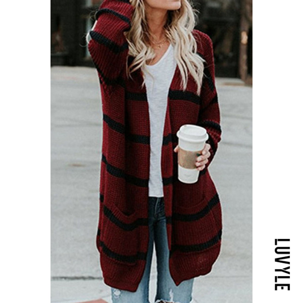 Casual striped loose pockets midi sweater cardigan - from $27.00