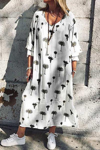 Plus Size Beach Loose Sleeve Mini Dress