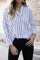 Turn Down Collar  Asymmetric Hem  Striped  Blouses