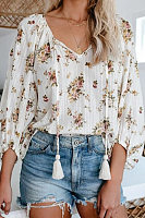 V Neck Lantern Sleeve Floral Blouse