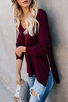 V Neck  Zipper  Plain T-Shirts