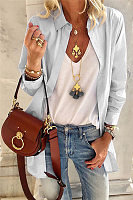 Casual Solid Color Fold-Over Collar Single-Breasted Lace-Up Long-Sleeved Shirt