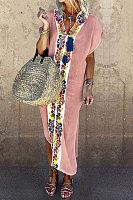 Elegant Floral Side Slit V Neck Short Sleeves Long Dress