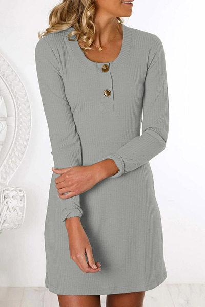 Casual Round Neck Decorative Buttons Plain Dress