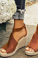 Plain  Velvet  Peep Toe  Date Wedge Sandals