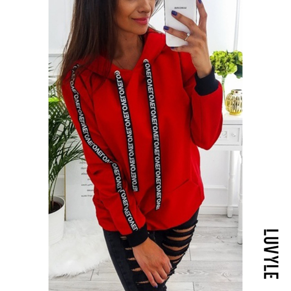 Red Hooded Drawstring Letters Hoodies Red Hooded Drawstring Letters Hoodies