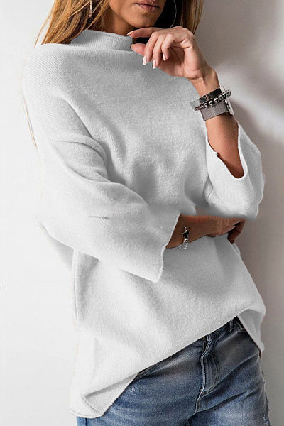 Heap Collar Bell Sleeve Three Quarter Sleeve Sweaters