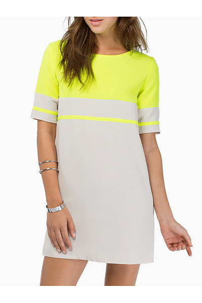 Round Neck  Color Block  Short Sleeve Casual Dresses