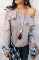 Casual Ruffled Edge Off-The-Shoulder T-Shirt