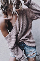 One Shoulder  Plain  Sexy Sweaters