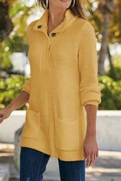 Buckle Collar Plain Long Sleeve Sweater