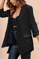 Fold Over Collar  Plain Blazers