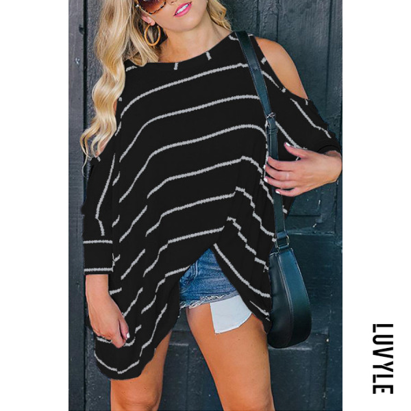 Black Round Neck Asymmetric Hem Striped Batwing Sleeve T-Shirts Black Round Neck Asymmetric Hem Striped Batwing Sleeve T-Shirts