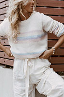 Fashion Round Neck Colouring Casual Sweater
