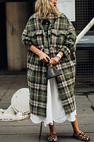 Women's Plaid Lapel Casual Coat