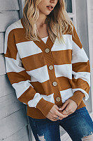 Striped Single Breasted Loose Cardigan